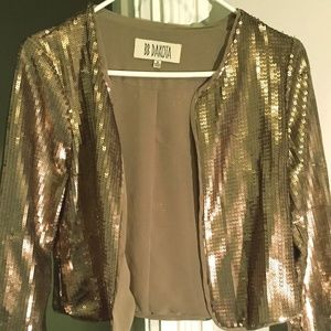 BB DAKOTA Gold Cropped Sequin Jacket/Blazer SzS